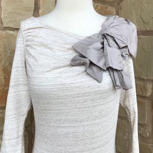 Deletta Volante Heathered Silk Bow Tee Top Med